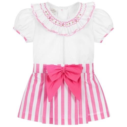 Pink & White Skirt Set